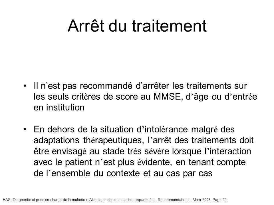 Arrêt du traitement Il n'est pas recommandé d'arrêter les traitements sur les seuls critères de score au MMSE, d'âge ou d'entrée en institution.