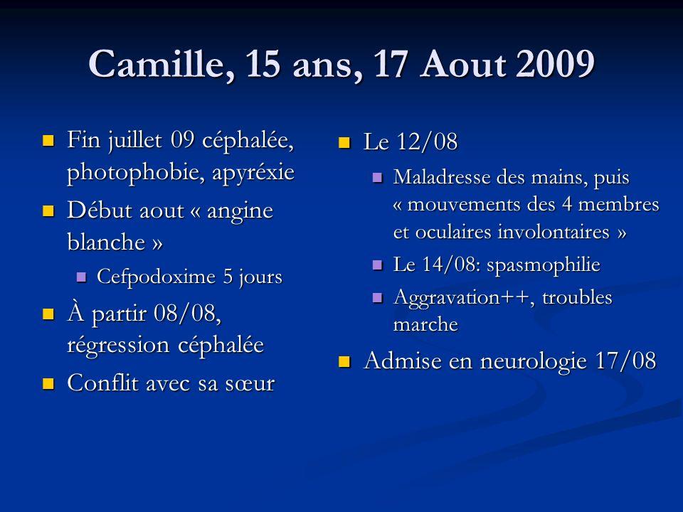 Camille, 15 ans, 17 Aout 2009 Fin juillet 09 céphalée, photophobie, apyréxie. Début aout « angine blanche »