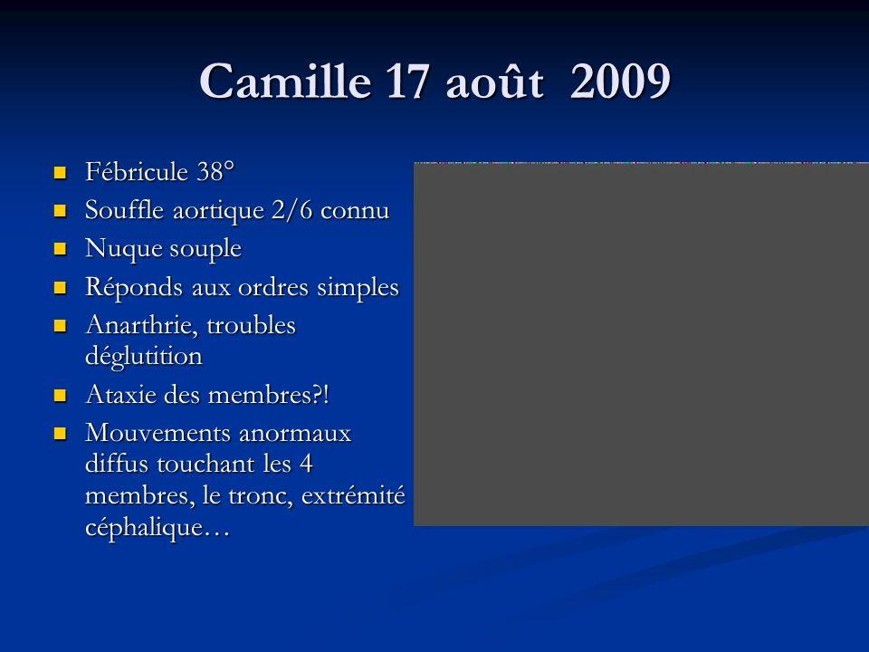 Camille 17 août 2009 Fébricule 38° Souffle aortique 2/6 connu