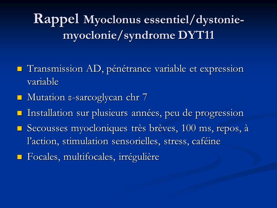 Rappel Myoclonus essentiel/dystonie-myoclonie/syndrome DYT11