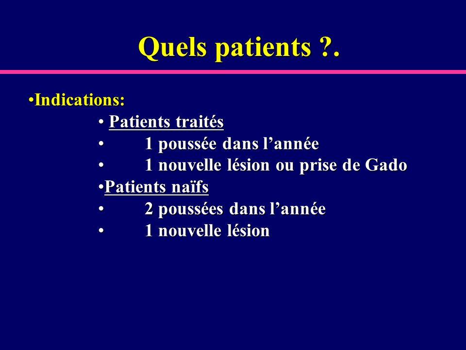 Quels patients . Indications: Patients traités 1 poussée dans l'année