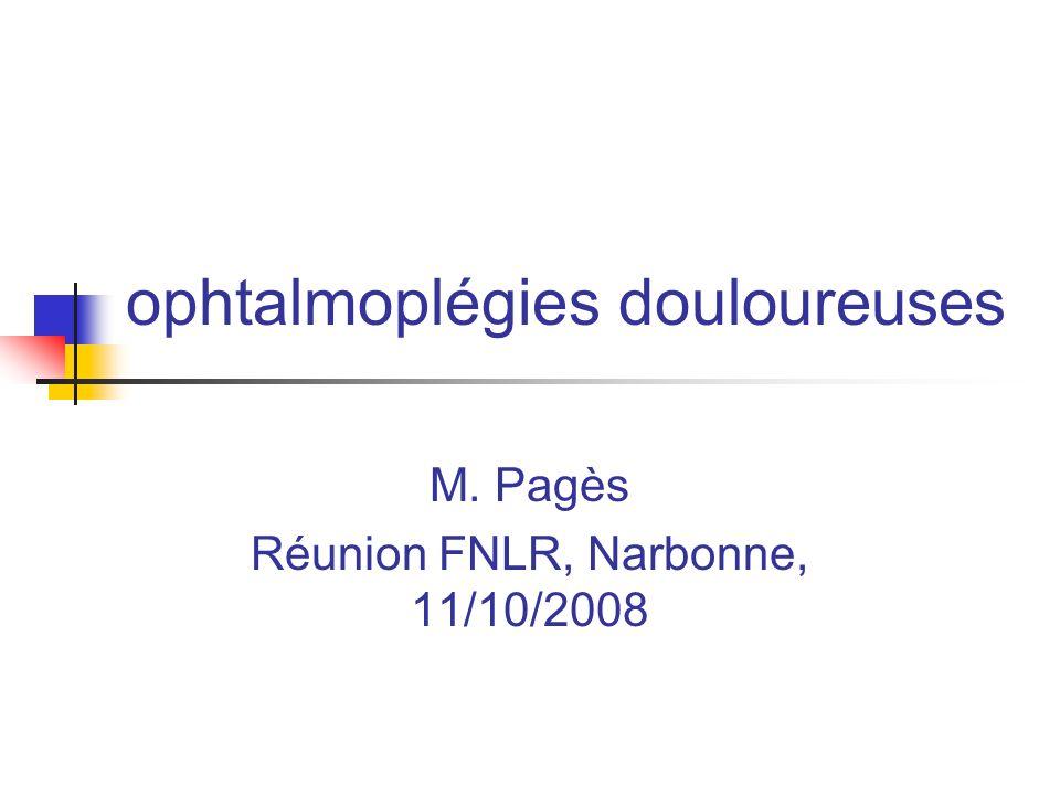 ophtalmoplégies douloureuses