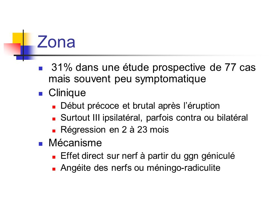 Zona 31% dans une étude prospective de 77 cas mais souvent peu symptomatique. Clinique. Début précoce et brutal après l'éruption.
