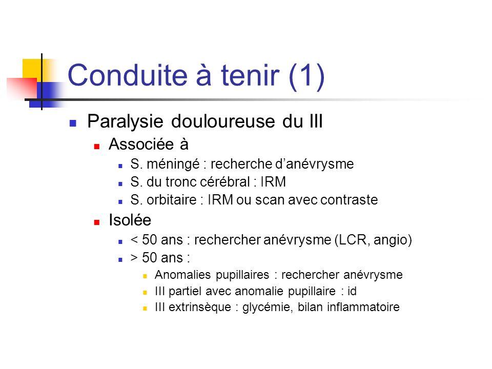 Conduite à tenir (1) Paralysie douloureuse du III Associée à Isolée