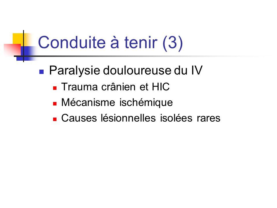 Conduite à tenir (3) Paralysie douloureuse du IV Trauma crânien et HIC