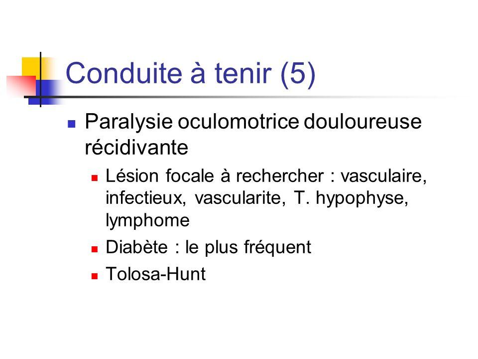 Conduite à tenir (5) Paralysie oculomotrice douloureuse récidivante