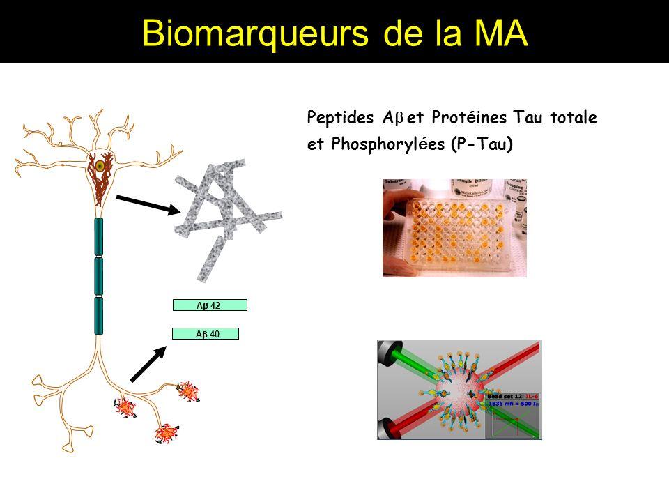 Biomarqueurs de la MA Peptides Ab et Protéines Tau totale et Phosphorylées (P-Tau) Ab 42 Ab 40