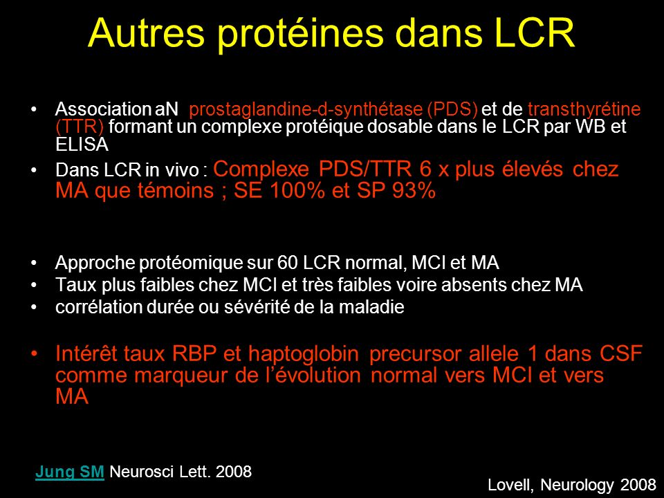 Autres protéines dans LCR