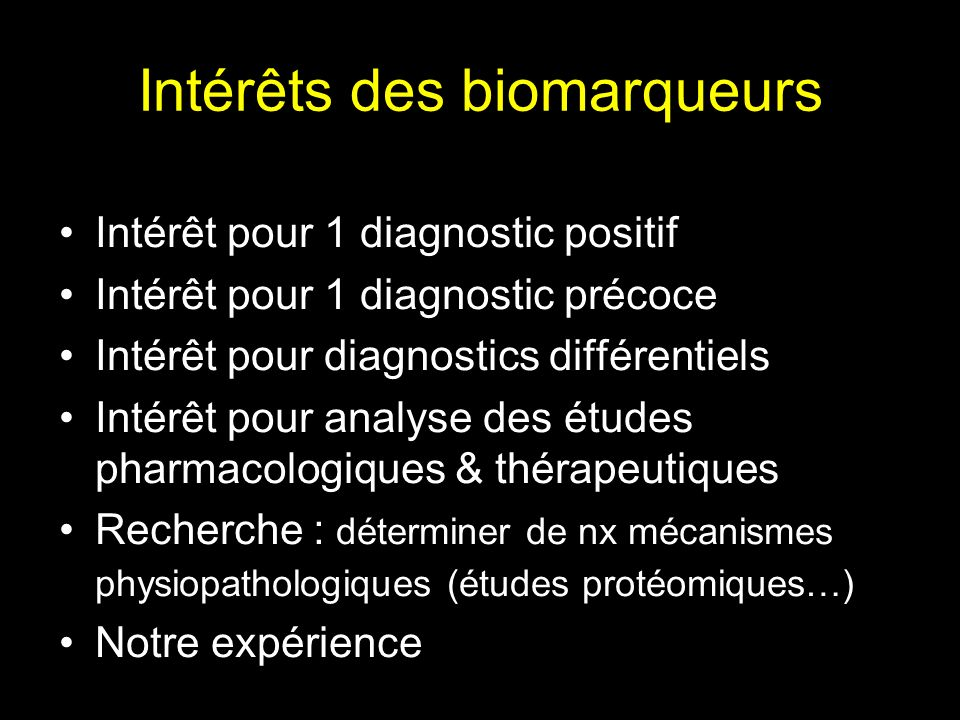 Intérêts des biomarqueurs
