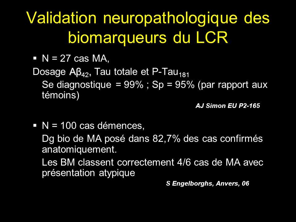 Validation neuropathologique des biomarqueurs du LCR
