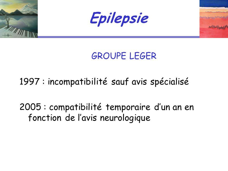 Epilepsie GROUPE LEGER 1997 : incompatibilité sauf avis spécialisé