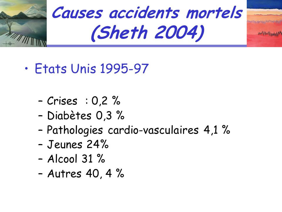 Causes accidents mortels (Sheth 2004)