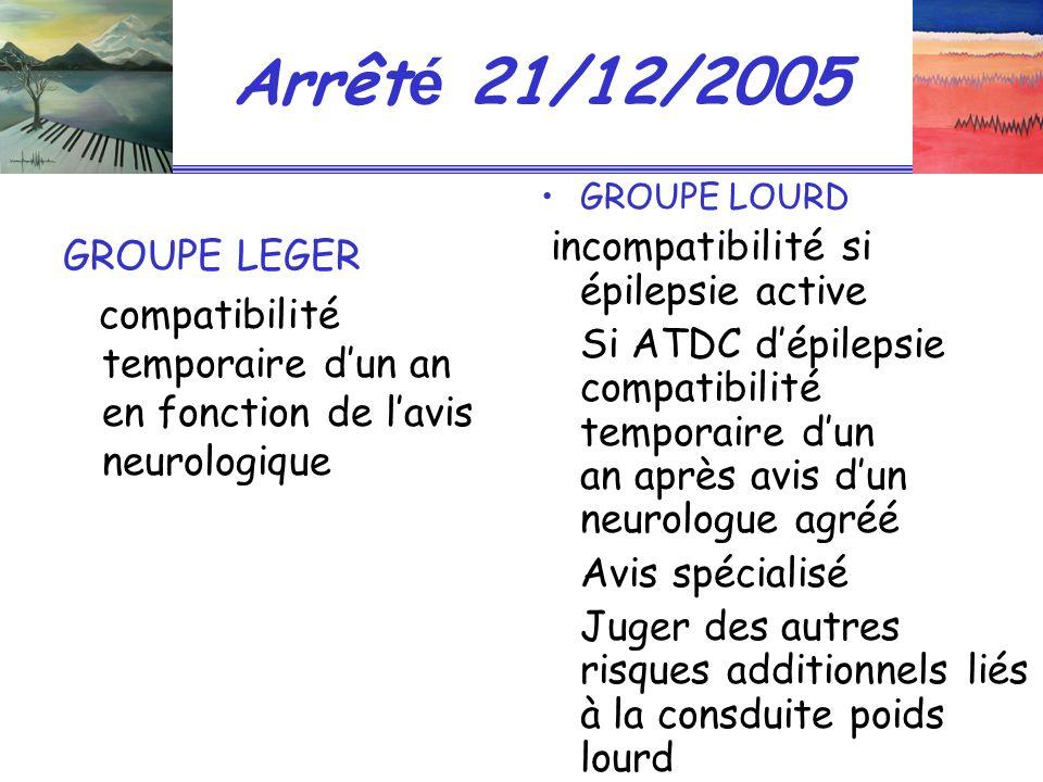 Arrêté 21/12/2005 GROUPE LOURD. incompatibilité si épilepsie active.