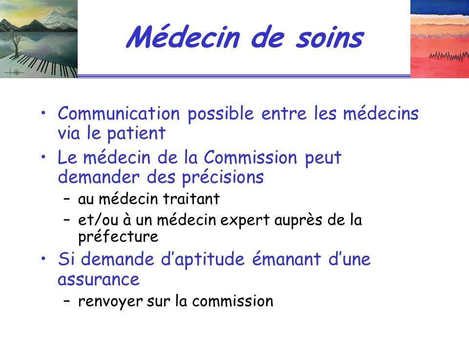 Médecin de soins Communication possible entre les médecins via le patient. Le médecin de la Commission peut demander des précisions.