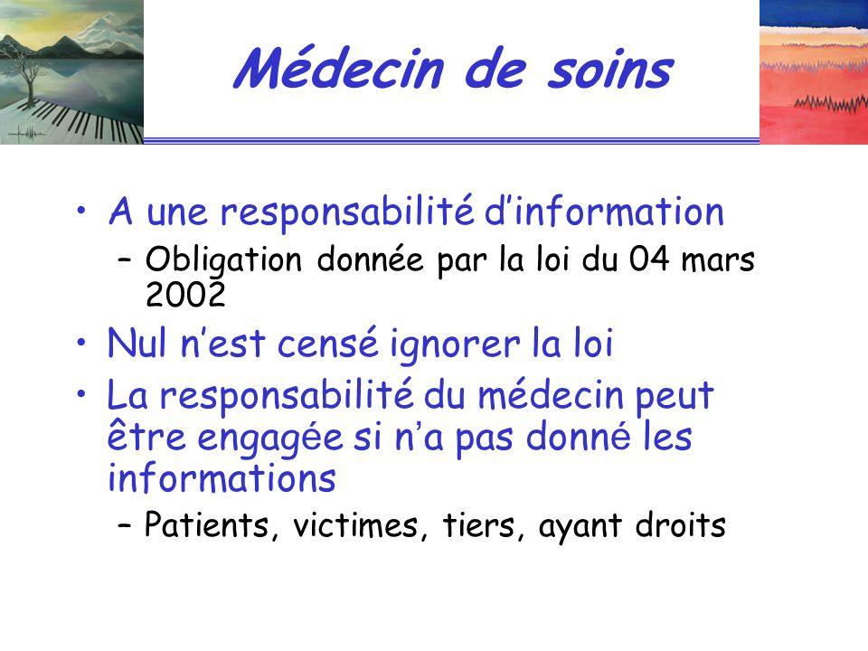 Médecin de soins A une responsabilité d'information