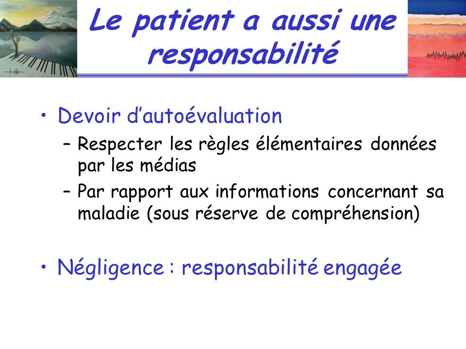 Le patient a aussi une responsabilité