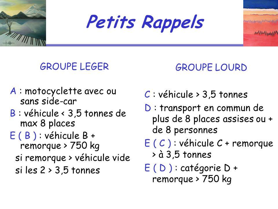 Petits Rappels GROUPE LEGER A : motocyclette avec ou sans side-car