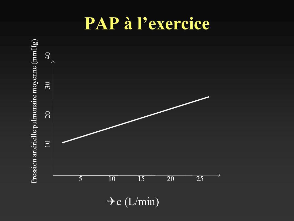 PAP à l'exercice Qc (L/min)