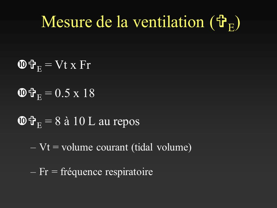 Mesure de la ventilation (VE)