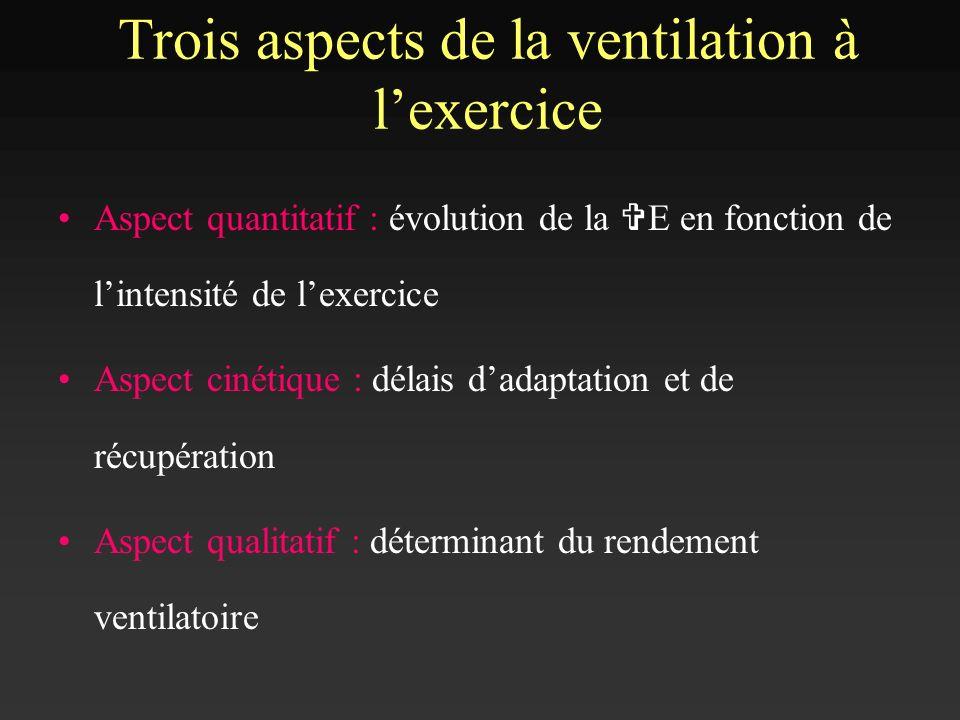 Trois aspects de la ventilation à l'exercice