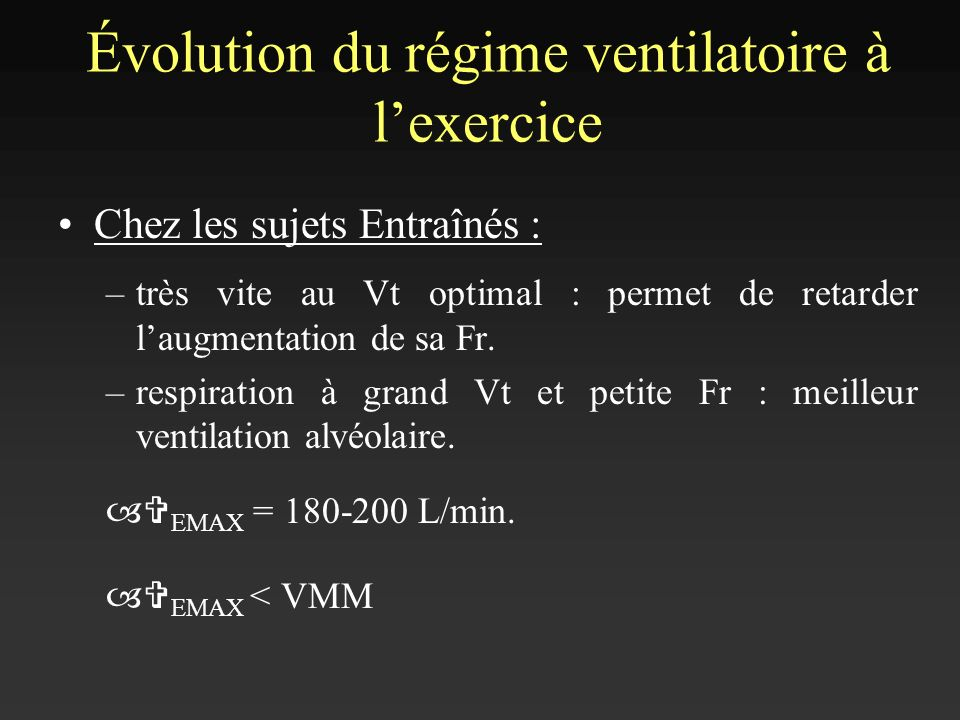 Évolution du régime ventilatoire à l'exercice