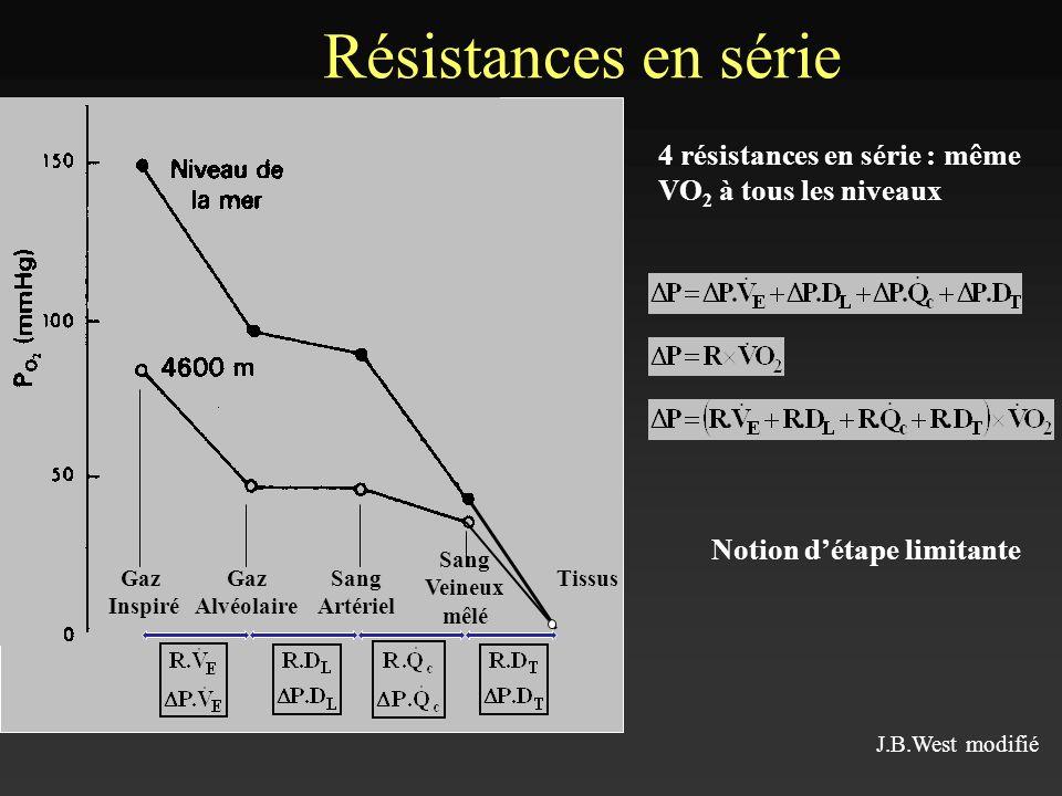 Résistances en série 4 résistances en série : même VO2 à tous les niveaux. Notion d'étape limitante.