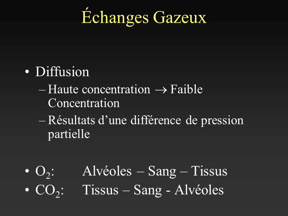Échanges Gazeux Diffusion O2: Alvéoles – Sang – Tissus