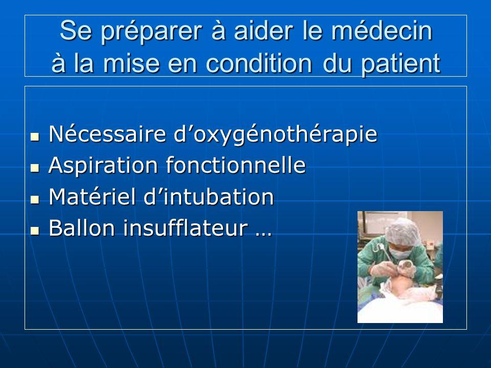 Se préparer à aider le médecin à la mise en condition du patient