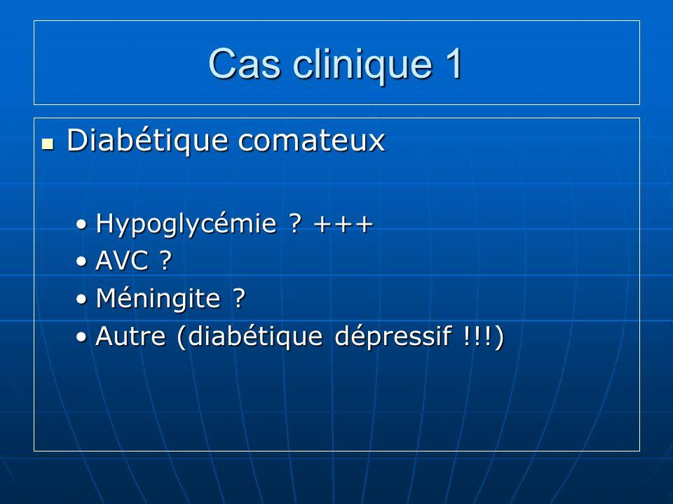 Cas clinique 1 Diabétique comateux Hypoglycémie +++ AVC