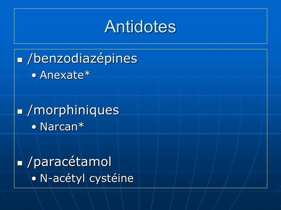 Antidotes /benzodiazépines /morphiniques /paracétamol Anexate* Narcan*