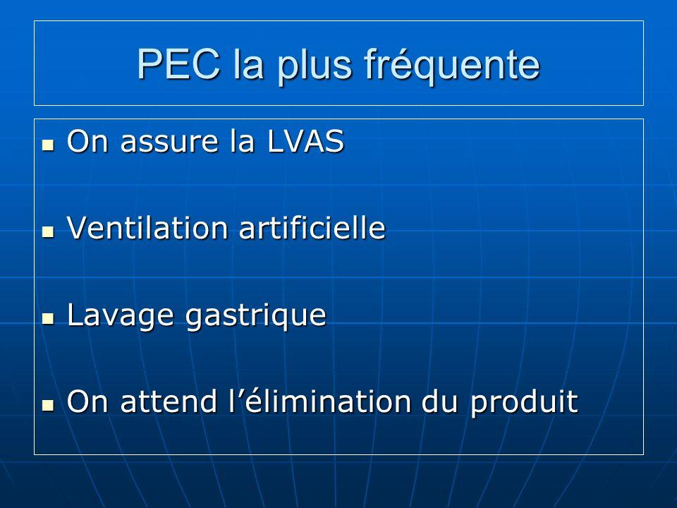 PEC la plus fréquente On assure la LVAS Ventilation artificielle