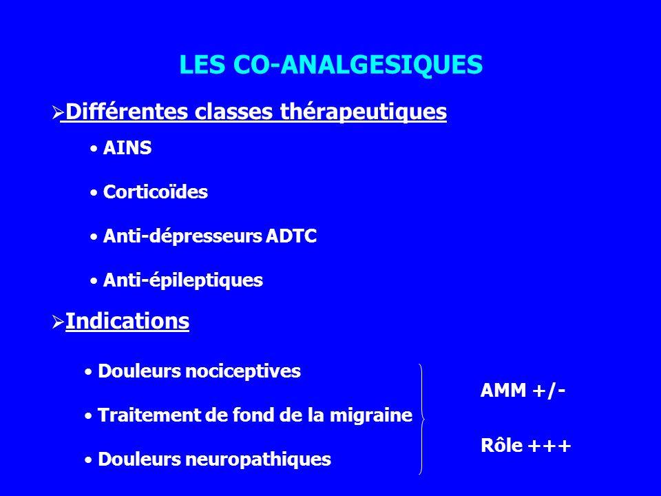 LES CO-ANALGESIQUES Différentes classes thérapeutiques AINS
