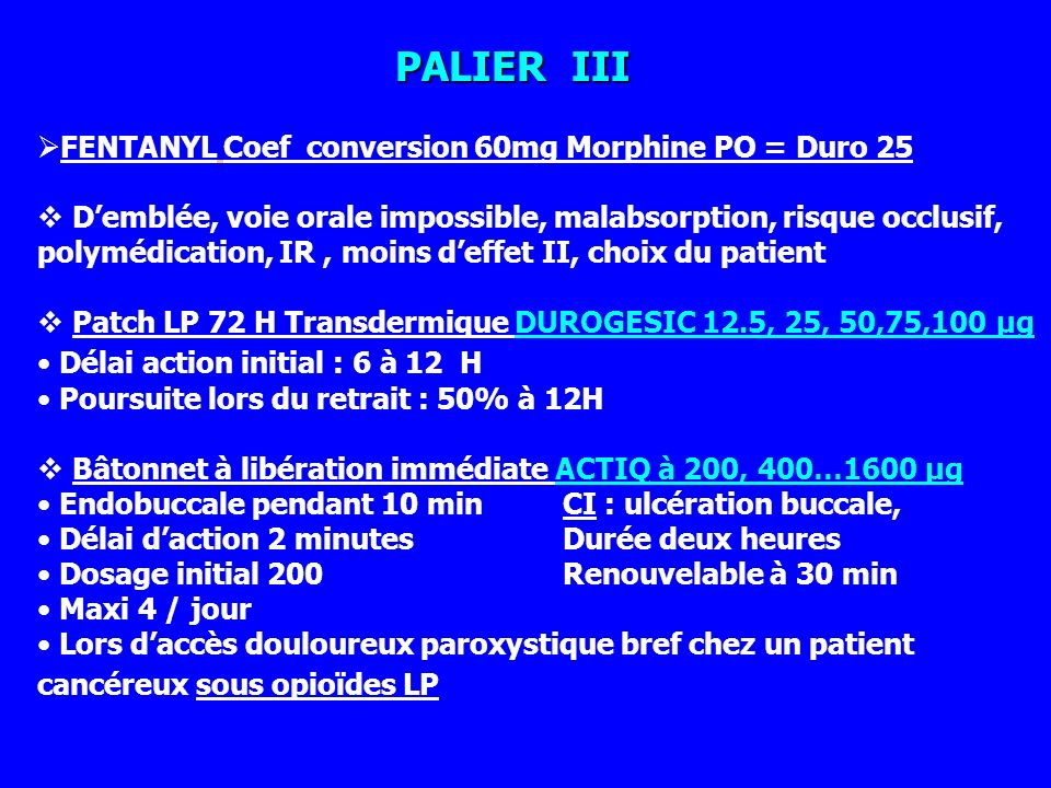 PALIER III FENTANYL Coef conversion 60mg Morphine PO = Duro 25