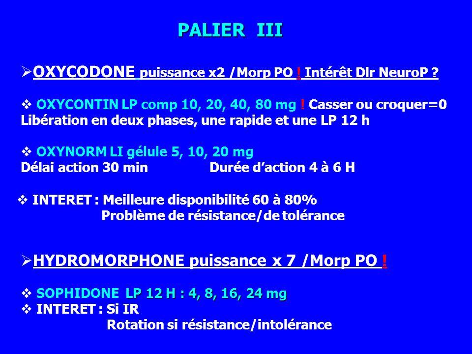 PALIER III OXYCODONE puissance x2 /Morp PO ! Intérêt Dlr NeuroP