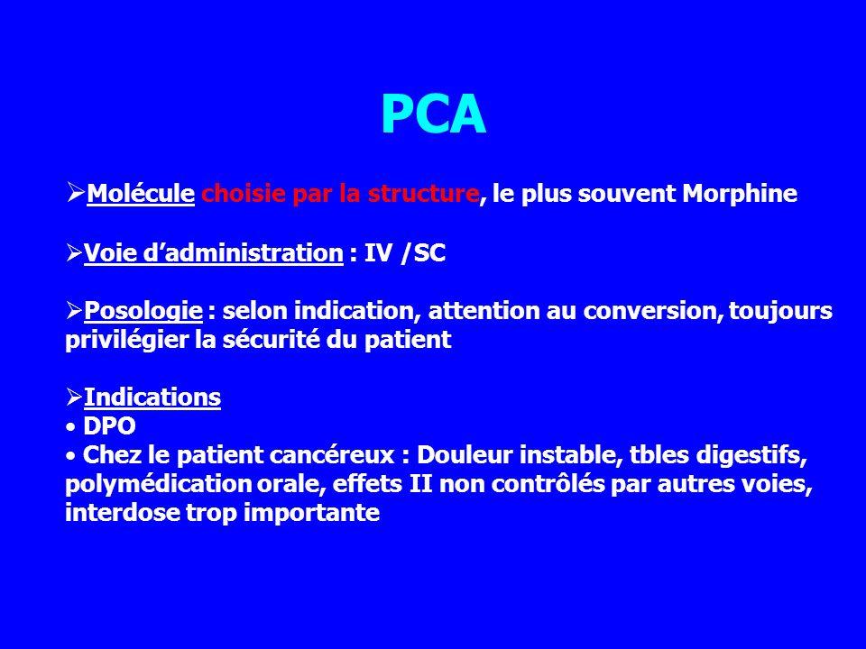 PCA Molécule choisie par la structure, le plus souvent Morphine