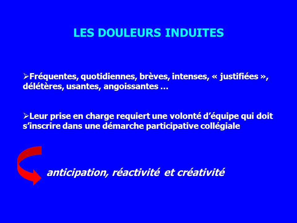 LES DOULEURS INDUITES anticipation, réactivité et créativité