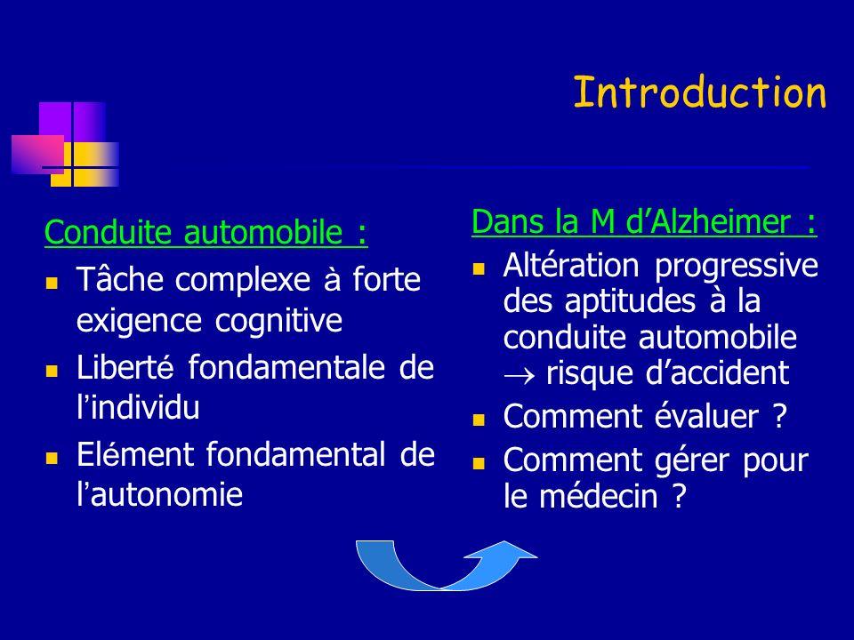 Introduction Dans la M d'Alzheimer : Conduite automobile :