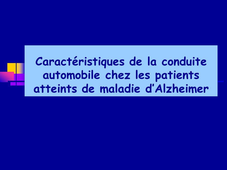 Caractéristiques de la conduite automobile chez les patients atteints de maladie d'Alzheimer