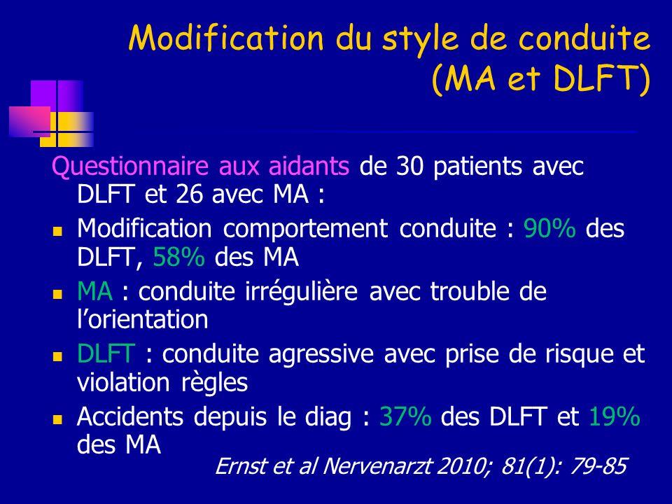 Modification du style de conduite (MA et DLFT)