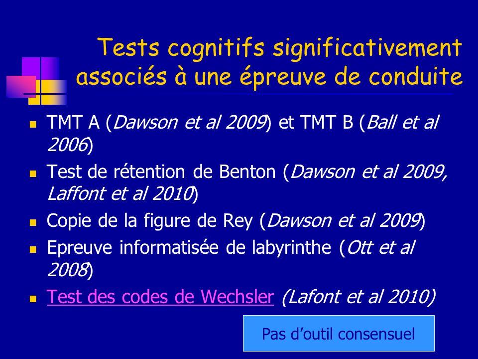 Tests cognitifs significativement associés à une épreuve de conduite