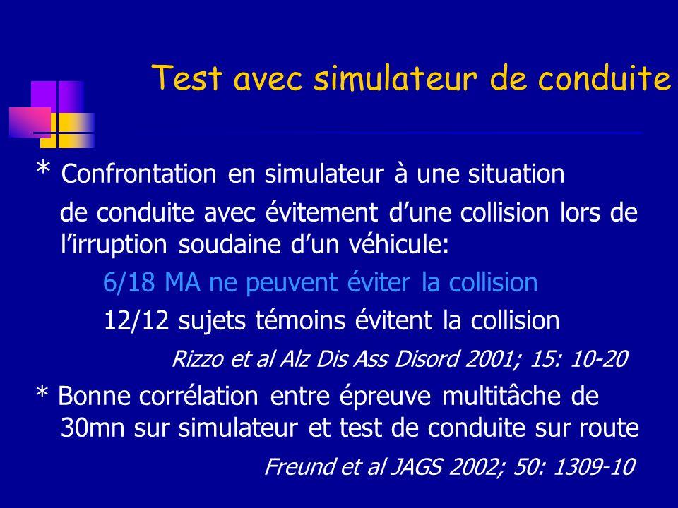 Test avec simulateur de conduite
