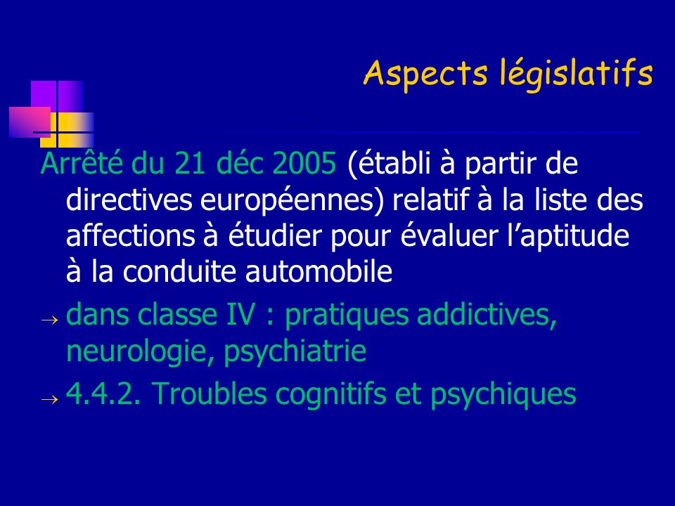 Aspects législatifs