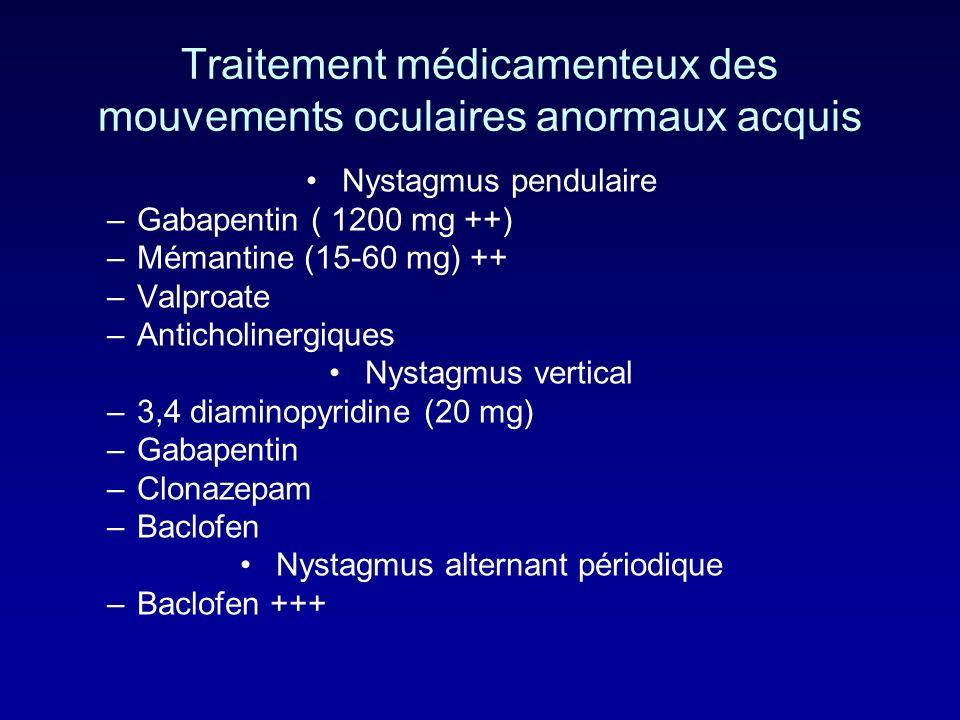 Traitement médicamenteux des mouvements oculaires anormaux acquis