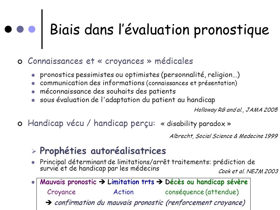 Biais dans l'évaluation pronostique