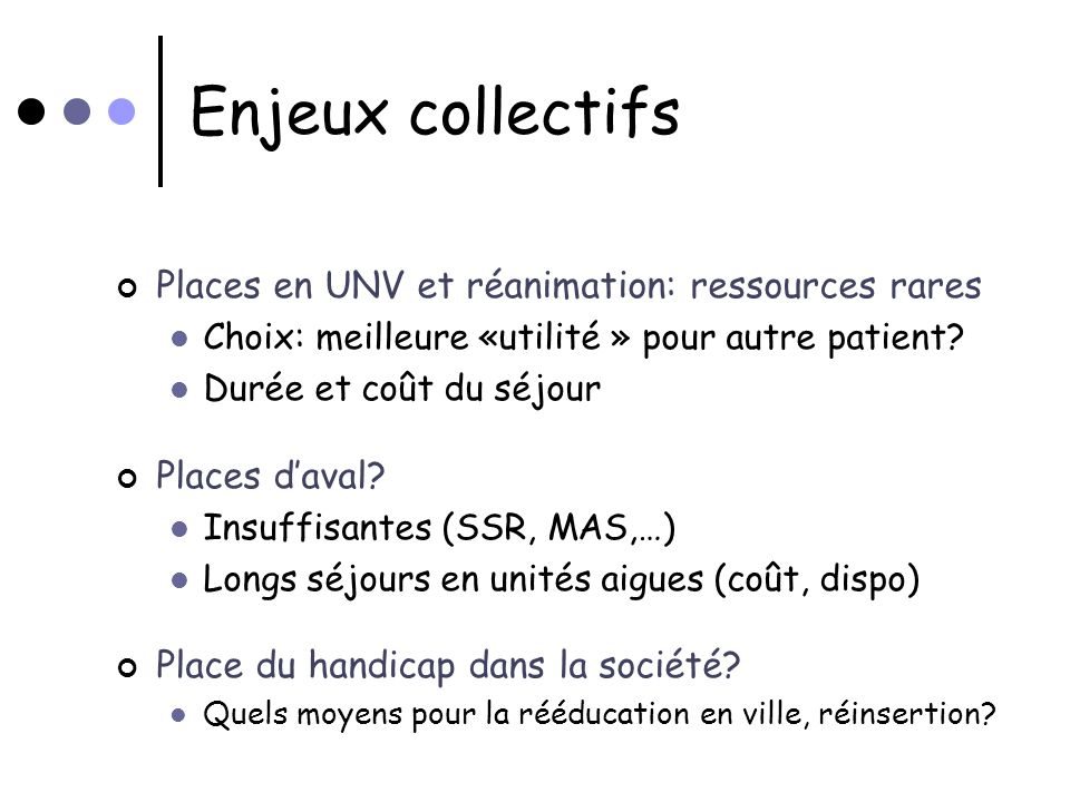 Enjeux collectifs Places en UNV et réanimation: ressources rares