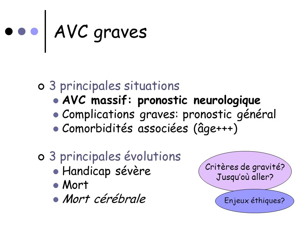 AVC graves 3 principales situations 3 principales évolutions