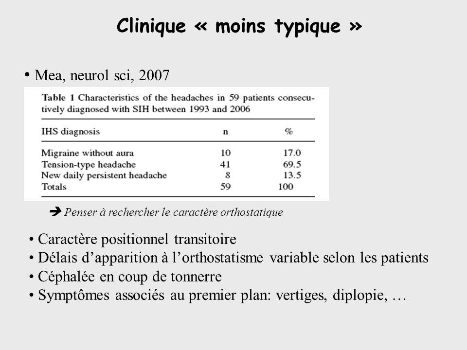Clinique « moins typique »