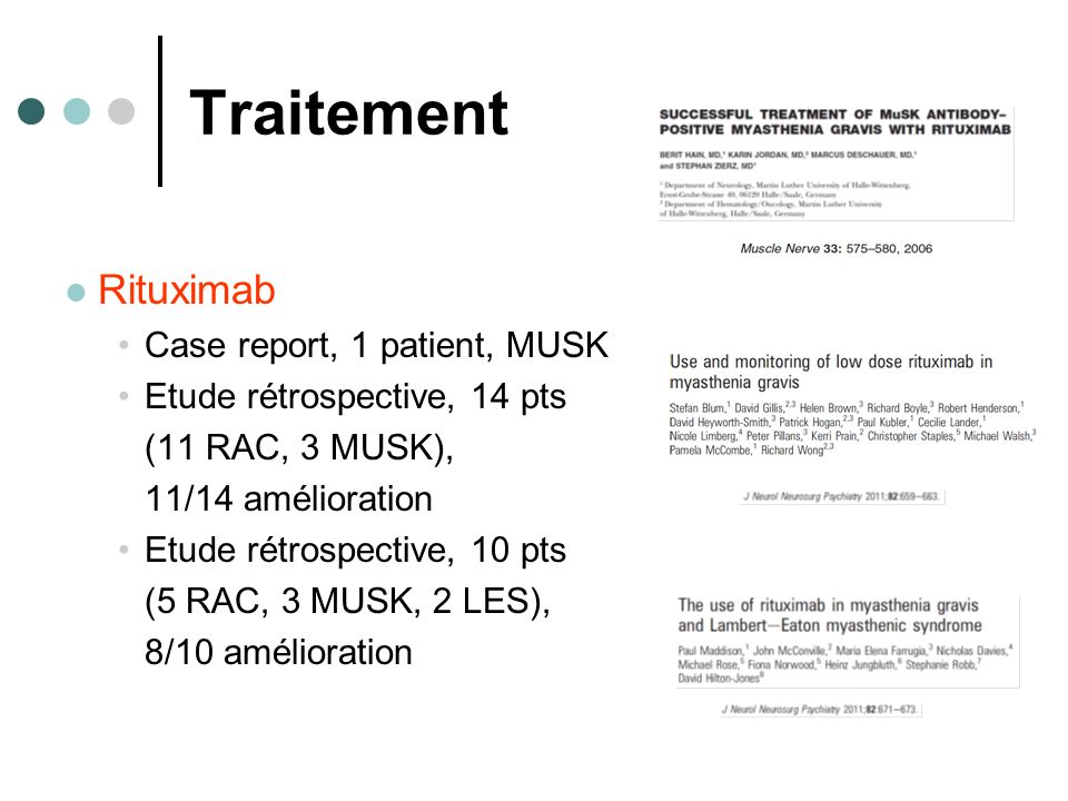 Traitement Rituximab Case report, 1 patient, MUSK