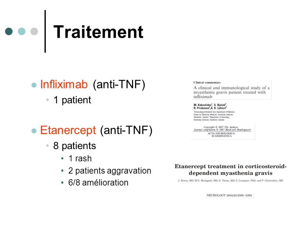 Traitement Infliximab (anti-TNF) Etanercept (anti-TNF) 1 patient