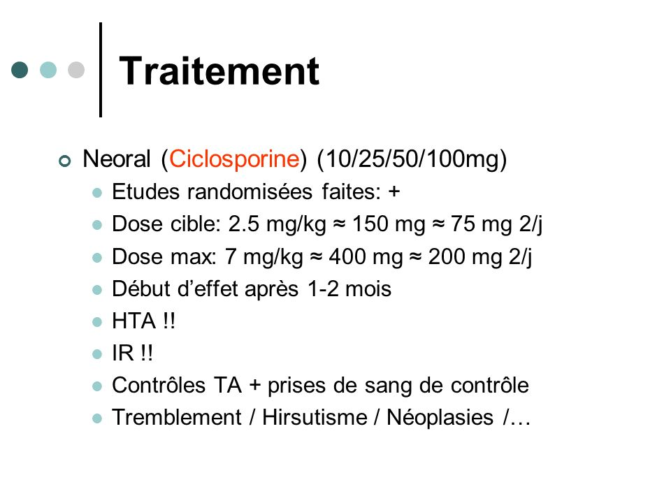 Traitement Neoral (Ciclosporine) (10/25/50/100mg)